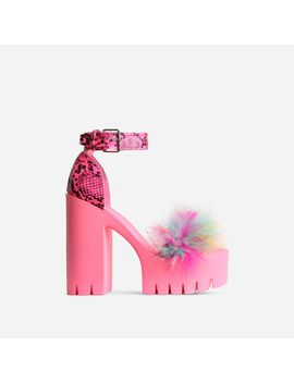 Pepper Platform Multi Faux Fur Detail Block Heel In Pink Snake Print Faux Leather by Ego