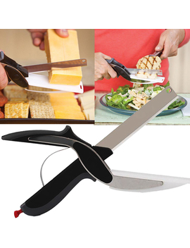 Smart Clever Cutter Kitchen Scissors Shears Food Chopper Metal Slicer Knife Cutting Board by Image