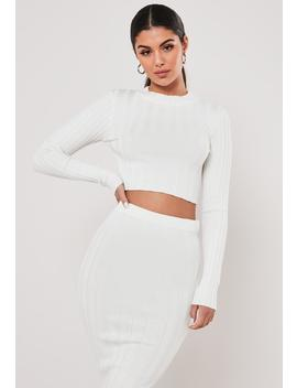 White Co Ord Extreme Rib Knitted Crop Top by Missguided
