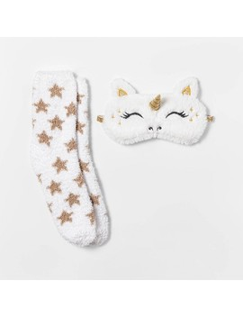 Women's Unicorn Eyemask & Cozy Socks Set   White One Size by Target