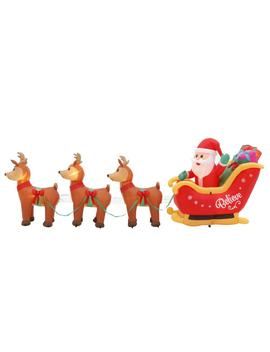 5 Ft. H X 14 Ft. L Airblown Inflatable Santa In Sleigh Scene by Home Accents Holiday