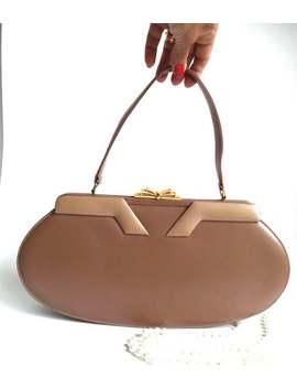 Coret 60s Rare Two Tone Camel Art Deco Frame Bag, Retro Oval Handbag, Gold Fan Clasp, Mod Dress Purse, Elegant All Season Bag, Mod Gift by Etsy