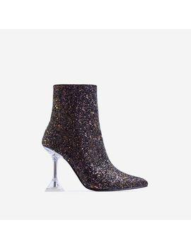 Bacardi Perspex Pyramid Heel Ankle Boot In Black Glitter by Ego