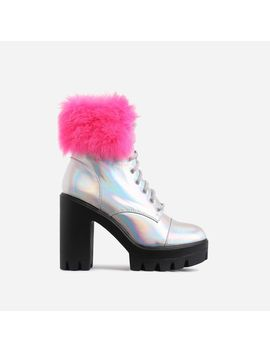 Toasty Pink Faux Fur Lace Up Block Heel Ankle Biker Boot In Silver Holographic Faux Leather by Ego