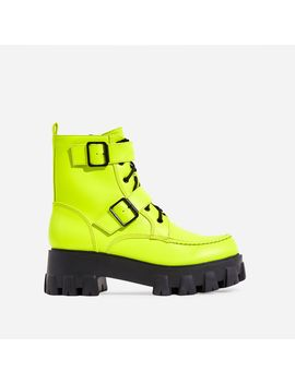Lambo Buckle Detail Chunky Sole Lace Up Ankle Biker Boot In Neon Green Faux Leather by Ego
