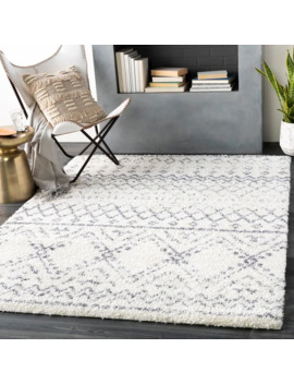 "Rayne Boho Moroccan Shag Area Rug   6'7"" X 9'   White by Tapeto Designs"