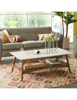 Madison Park Avalon White/ Pecan Coffee Table by Madison Park