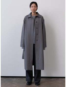 Belted Trench Coat Gray by Moia