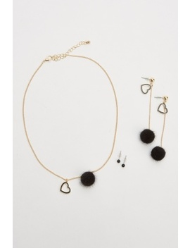 Pom Pom Heart Necklace And Earrings Set by Everything5 Pounds