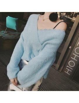 Nastas   V Neck Lace Trim Sweater by Nastas