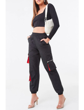 Ankle Cut Cargo Windbreaker Pants by Forever 21