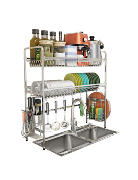 New Double Layer Kitchen Dish Rack 304 Stainless Steel Dish Drainer Bowl Plate Drying Rack Kitchen Organizer Storage Holder by Ali Express.Com