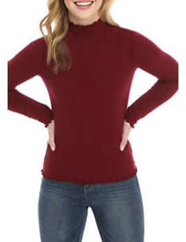 Junior's Long Sleeve Lettuce Edge Ribbed Mock Neck Sweater by Good Luck Gem