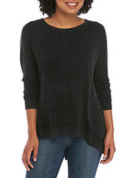 Junior's Washed Sheering Back Knit Top by Wonderly