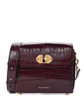 Alexander Mcqueen Crocodile Embossed Calfskin Box Shoulder Bag 21 Velvet Red by Alexander Mc Queen