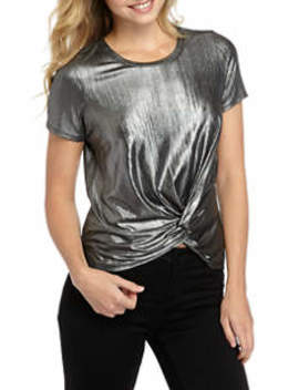 Junior's Short Sleeve Shimmer Twist Front Top by Love, Fire
