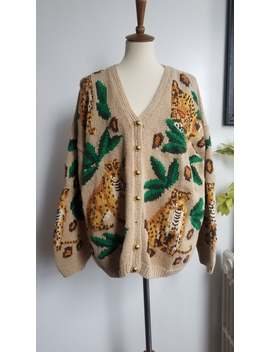 Reserved Vintage Hand Knit Leopard Tiger Print Oversize Grandpa Cardigan Sweater by Etsy