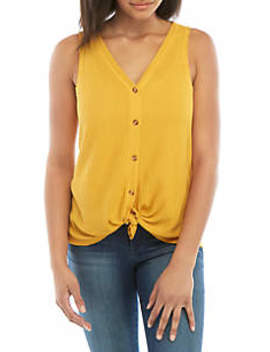 Button Front Waffle Tank by Wonderly