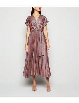 Robe Portefeuille Bordeaux Plissée à Paillettes by New Look