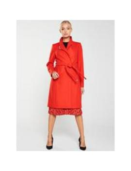 Ellgenc D Ring Wrap Coat   Bright Red by Ted Baker