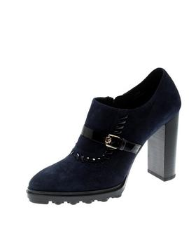 Tod's Blue Blue/Black Suede Whipstitch Detail Ankle Boots/Booties by Tod S