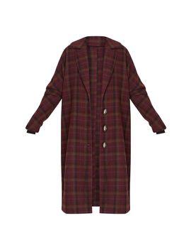 Burgundy Boyfriend Oversized Midi Coat by Prettylittlething