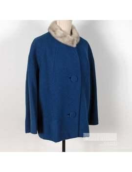 1950s Short Blue Short Coat With Grey Fur Collar Bouclé Winter Jacket Size Large Vintage 50s by Etsy