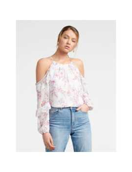 Rosa Ruffle Flock Cold Shoulder Top by Forever New