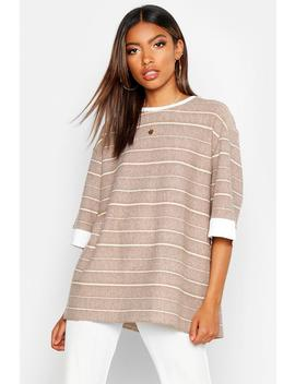 Textured Stripe Boxy T Shirt by Boohoo