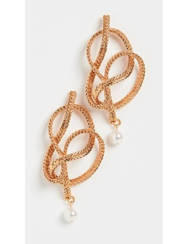 Braided Chain &Amp; Pearl Earrings by Oscar De La Renta