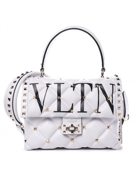 Valentino Lambskin Vltn Print Candystud Satchel White by Valentino