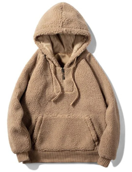 Solid Faux Fur Fluffy Half Zip Hoodie   Camel Brown S by Zaful