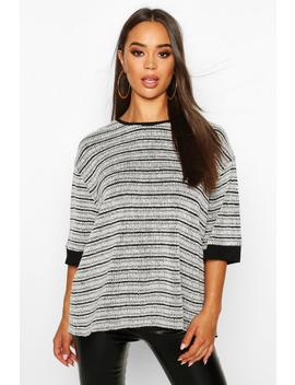Textured Stripe Rib Oversized Top by Boohoo