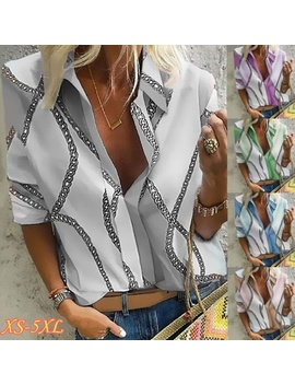 New Autumn New Women's Tops V Neck Long Sleeve Chain Printing Loose Shirt by Wish
