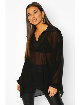Woven Balloon Sleeve Collar Detail Blouse by Boohoo