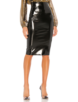 Patent Midi Skirt In Black by Commando