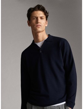 Wool And Silk Tailored Polo Style Sweater by Massimo Dutti