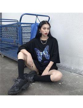 Genki Groove   Butterfly Print Elbow Sleeve T Shirt by Genki Groove