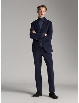 Navy Moleskin Regular Fit Trousers by Massimo Dutti