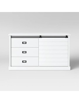 Southwick Farmhouse 3 Drawer/Shelf Dresser With Sliding Barn Door White   Threshold™ by Shop This Collection