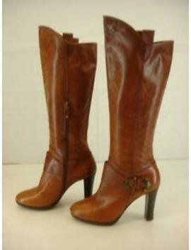 Womens 8 8.5 39 Guillaume Hinfray Italy Brown Tan Leather Knee High Boots Riding by Guillaume Hinfray