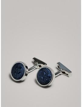 Blue Fabric Cufflinks by Massimo Dutti