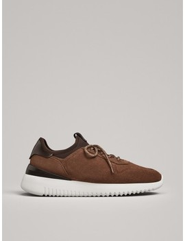 Sand Leather Sock Style Trainers by Massimo Dutti