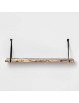 Wood Wall Shelf With Hanging Wire Natural/Black   Threshold™ by Threshold