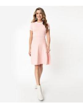 Retro Style Light Pink & White Gingham Fit & Flare Sweater Dress by Unique Vintage