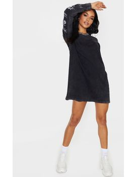 Prettylittlething Black Slogan Printed Long Sleeve T Shirt Dress by Prettylittlething