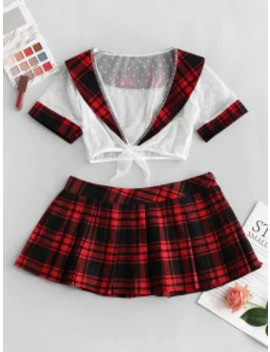 New Sale Dotted Lace Plaid Pleated Lingerie School Girl Costume   Red by Zaful