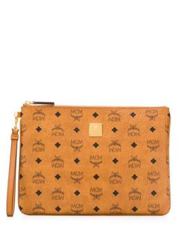 Logo Print Clutch Bag by Mcm