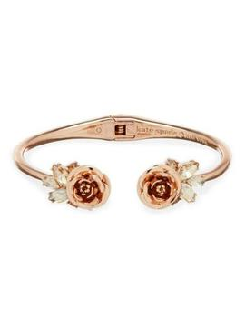 Kate Spade Garden Garland Crystal Rose Open Hinged Cuff Bracelet New In Pouch by Kate Spade New York