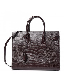 Saint Laurent Crocodile Embossed Calfskin Small Sac De Jour Prune by Yves Saint Laurent